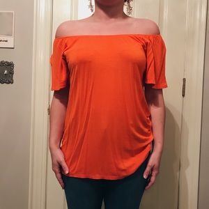 Tops - Orange off the shoulder top